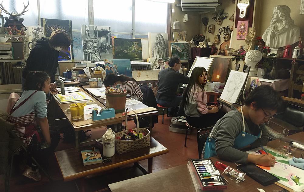 衣笠洋画研究所 教室の風景